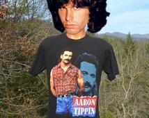 90s vintage tee shirt AARON TIPPIN tour 1993 call of the wild black concert country rock t-shirt Large Medium