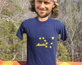 vintage 80s t-shirt ALASKA flag stars big dipper nature travel Medium Small soft thin souvenir