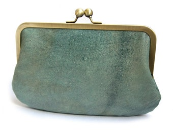 Clutch bag, green leather purse, silk-lined, EMERALD handbag
