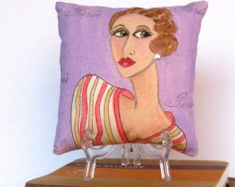 MIRIAM PILLOW, hand painted pillow, The Women, lilac, sexy lady, striped dress, gift for woman, funny quote, art deco,  Paris