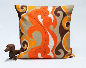 70s Retro Pillow Cover  40x40 - 16x16 - mid century decorative throw pillow - Handmade with love from vintage fabrics by EllaOsix