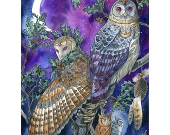 Night Magic - Fantasy Owl Print - Purple Owls With Moon