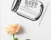Mason jar RSVP wedding rubber stamp