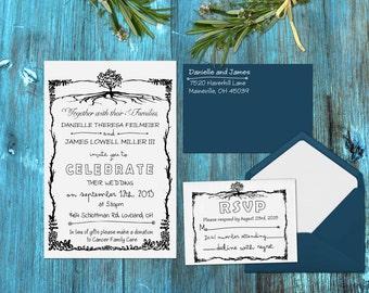 Rustic Tree Wedding Rubber Stamp Set for DIY Wedding --13007-MULT-000