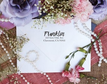 Self Inking Custom Return Address Stamp, Cute Stamp, Script Font Stamp --10209-PI12-000