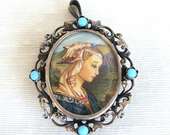 Antique German PICTURE CAMEO in Continental Silver