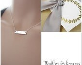 Gift set of 5 bridesmaid necklaces, personalized horizontal bar necklace with Thank You card, bridesmaid card, silver initial necklace,