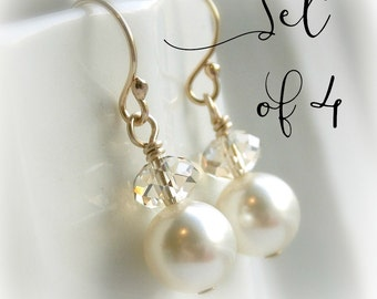 Bridesmaid earrings set of 4 pearl earrings bridesmaid gift Swarovski crystal earrings clear or champagne crystal ivory pearl, white pearl,