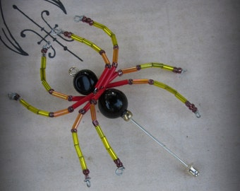 Red and Yellow Beaded Spider Brooch Wearable Art Pin