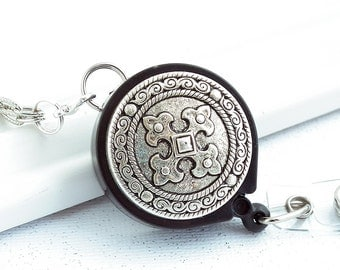 Antiqued Silver Chain Badge Reel Lanyard - Antiqued Silver Cross on Black