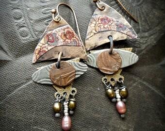 Copper Slabs, Crackle Art, Retro, Funky, Copper Earrings, Earthy, Rustic, Cottage Chic, Beaded Earrings