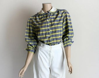 Vintage Plaid Blouse - 1970s Lemon Yellow and Navy Blue Ruffle Peter Pan Collar Cotton Shirt - Medium