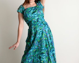 Vintage 1960s Floral Dress - Sequined Bodice Watercolor Teal Green Cotton Dress - Medium