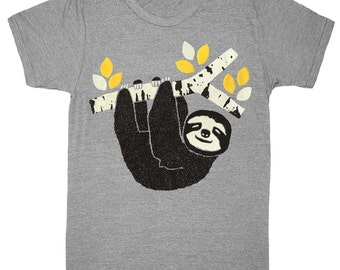 Sloth - Unisex Mens T-shirt Vintage Retro Tee Shirt Adorable Birch Tree Branch Nature Wood Woodland Forest Cute Animal Triblend Tshirt