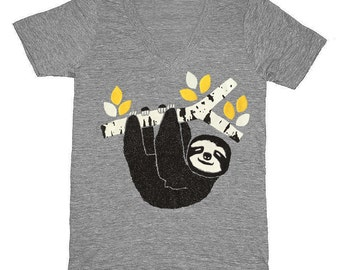 Sloth - V-neck T-Shirt Birch Branch Outdoors Nature Zoo Hiking Outside Animals Tree Forest Woodland Cute Grey Tee Shirt Vneck Gray Tshirt