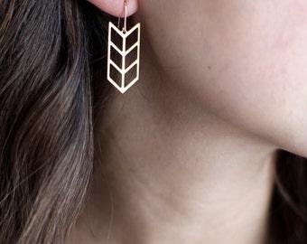 Triple Chevron Arrow Earrings - Brass | Stainless Steel | 14k Gold Filled | Sterling Silver