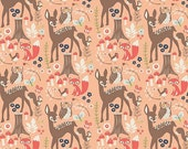 Woodland Animals Fabric by the yard, Deer Fabric, Woodland Springs, Fox Fabric, Owl fabric, Riley Blake, Woodland Main Coral, Choose the