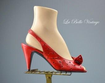 Red Pinup High Heels ~ Vintage Soft Leather Shoes US 7.5 UK 5.5 ~ Oleg Cassini