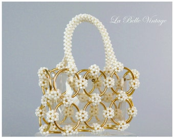 The See Through Purse ~ Vintage 1960s Clear Vinyl Beaded Handbag ~ Faceted Beads & Gold Circles