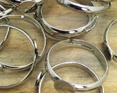 10 pcs - Adjustable Silver Plated Ring Base - 6mm Pad - Patina Queen