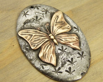 Butterfly Pendant - Molten Silver Solder and Brass - BUTTERFLY - Starry Skies Collection - OOAK - Hand Stamped Pendant - Patina Queen
