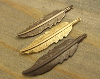 Large Feather Brass Charms - 6 or 12 pcs - Raw Brass - Hand Antiqued Brass - Hand Polished Brass - Choose Your Finish - Patina Queen