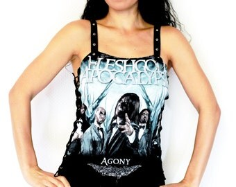 Fleshgod Apocalypse shirt crop top lace up heavy metal alternative clothing apparel reconstructed rocker clothes altered band tee t-shirt