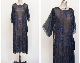 1920s Flapper Dress --- Antique Art Deco Beaded Gown