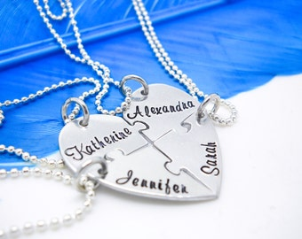Heart puzzle necklace, 4 piece puzzle piece necklace set, Bridesmaid puzzle necklace, Hand Stamped Names Necklace, Bridesmaid gifts