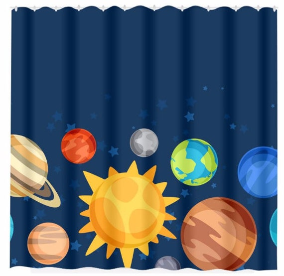 Planet Shower Curtain Custom Monogram Personalized Outer Space