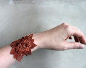 lace cuff bracelet  / DARCY / copper red cuff, romantic jewelry, bridesmaid gift, statement cuff, boho chic, victorian cuff, lace bracelet
