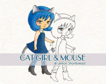 Digital Stamp Cat Girl & Mouse, Kitty Digi Download, Coloring Page, Cute Anthro Anime, Fantasy Children's Clip Art, Scrapbooking Supplies