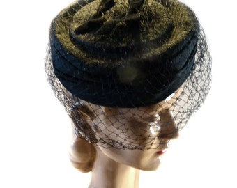 Vintage Black Straw Pillbox Hat with Net Veil