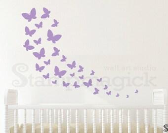 Butterflies Wall Decal - Butterflies Trail Baby Nursery Wall Decor Vinyl Wall Art for Children's Room - K392