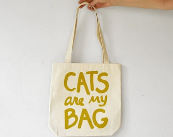 Gold Print  CATS are my BAG Tote, cat lover gift for her gift for women gift for cat mom crazy cat lady tote bag funny cat lover gift canvas