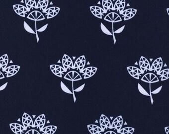Cotton + Steel Bluebird Cornflower  100% Cotton Fabric Navy and White