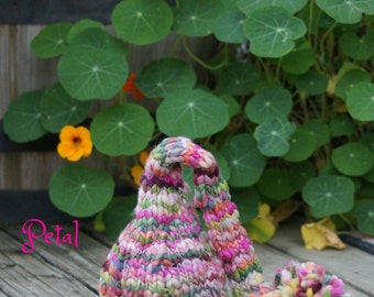 Newborn Elf Hat - Baby Photography Prop  - Twin Props - Elf - Baby Girl Pink Hat - Handdyed and Handspun yarn