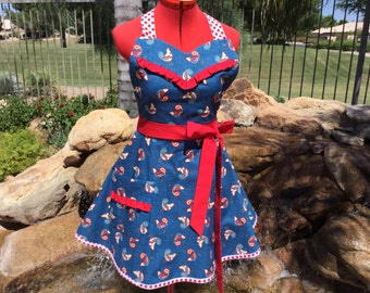 SALE - Ready to Ship - Sassy Patriotic Roosters  Apron with Ruffles, Womens  Kitchen Apron, Pin Up, Full, Sweetheart Bib