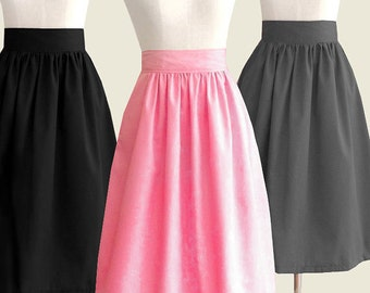 Cotton fully lined midi skirt with pockets - custom size, length, color for your everyday look / holiday / party / bridesmaids / work