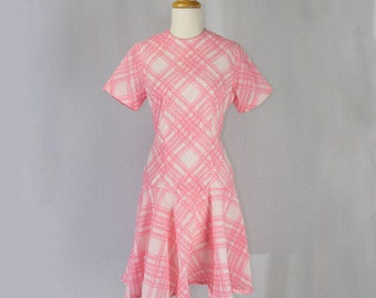 Vintage 1960s Mod Scooter Dress Pink Brushstroke Plaid Flirty Skirt