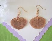 Antique Aspen Leaf Earrings Rose Gold, Vintage, Aspen Leaf, Small Size Earrings, 24kt Rose Gold Earrings, LESM105
