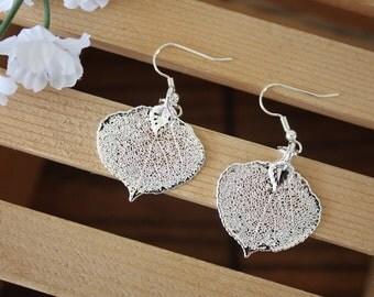 Silver Aspen Leaf Earrings, Real Leaf Earrings, Aspen Leaf, Sterling Silver Earrings, LESM141