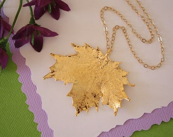 Real Sugar Maple Leaf, Real Gold Leaf, Maple Leaf Necklace, Canadian Leaf, Gold Filled, LC74