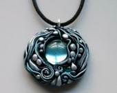 Artisan Pendant Necklace Polymer Clay and Glass Cabochon