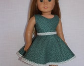 floral print dress with skater/circle style skirt and belt, 18 inch doll clothes, maplelea