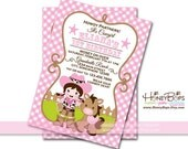 Cowgirl Pink Gingham Personalized Invitation Birthday or Baby Shower - Personalized Digital File Only