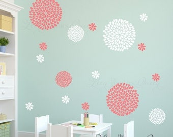 Flower Wall Decals - Mum Peony Floral Decals - Wall Stickers for Nursery and Bedrooms - Made in USA - Coral White Flowers - 45 Colors avail