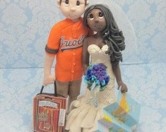 Sports Fans Wedding Cake topper, Custom wedding cake topper, personalized cake topper, Bride and groom cake topper, Mr and Mrs cake topper