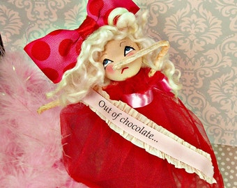 Out of chocolate doll Valentine centerpiece ooak art doll vintage retro inspired blond doll drama queen red and pink Valentine decoration