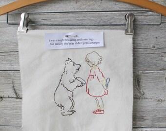 Goldilocks, Hand Embroidery,  needlepoint, Finished, Ready to frames,Vintage inspired, nursery
